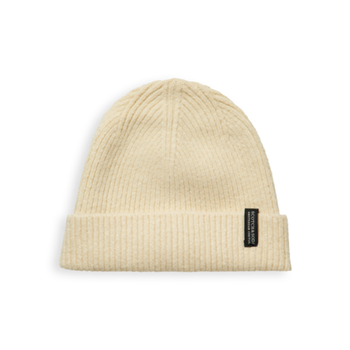 Scotch & Soda 160479 Knitted beanie in soft quality off white
