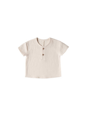 Quincy Mae Woven Henry Top pebble