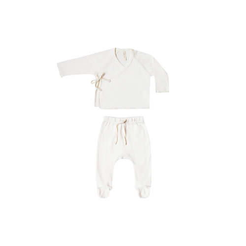 Quincy Mae Kimono Top + Footed Pant ivory