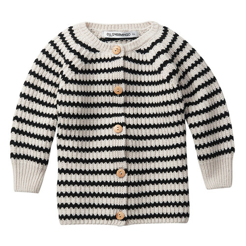 mingo Baby Cardigan Stripes Black/White