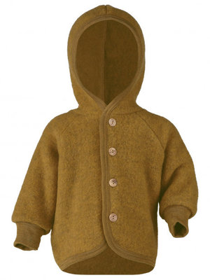 Engel Hooded jacket with wooden buttons saffron
