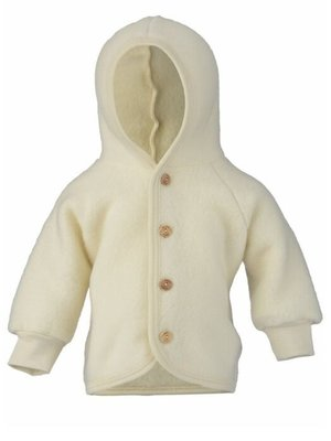 Engel Hooded jacket with wooden buttons natural