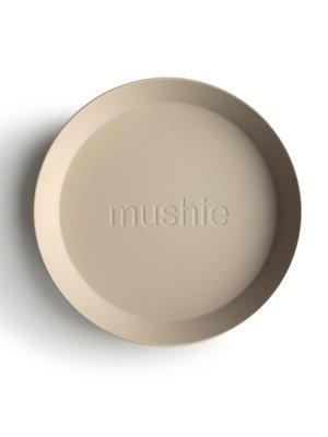 mushie Plates round vanilla  set van 2