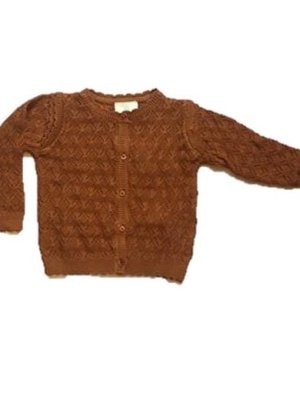 91111  Knit Cardigan leather brown