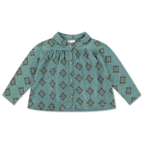 Repose AMS Collar blouse tiles heart over