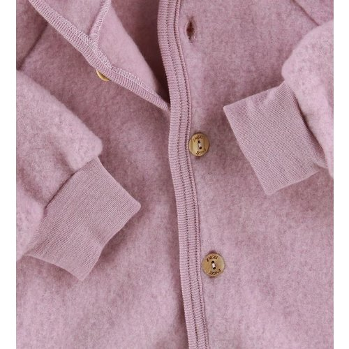 Engel Hooded jacket with wooden buttons rosewood melange