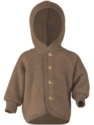 Engel Hooded jacket with wooden buttons wallnuss melange