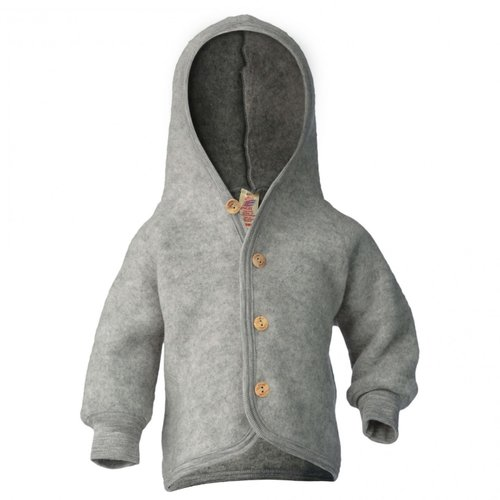 Engel Hooded  jacket with wooden buttons light grey melange