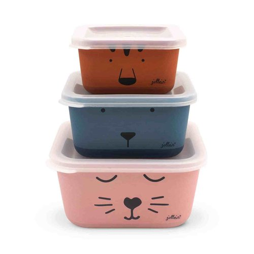 Jollein Snackbox bamboe animal club (3psc)