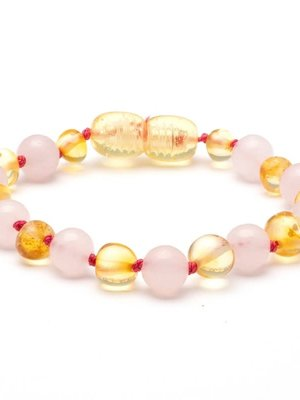 Amber Baroque baltic amber & rose quartz baby teething bracelet 2 BAROQUE BALTIC AMBER & ROSE QUARTZ BABY