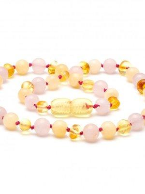 Amber BALTIC AMBER & GEMSTONE TEETHING NECKLACE 3 kleuren