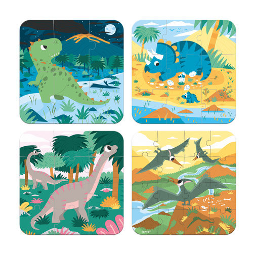 Janod Puzzel - 4 puzzels Dinosaurus