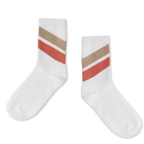 Repose AMS Socks  white red diagonal,