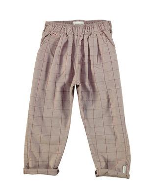 piupiuchick Unisex trousers | taupe & garnet checkered