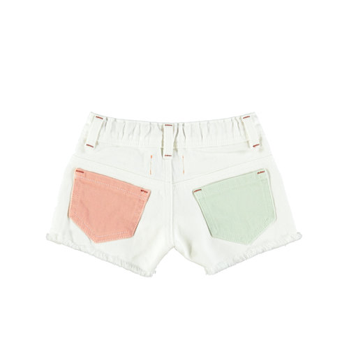 piupiuchick Tricolor shorts | off white, yellow, pink & green
