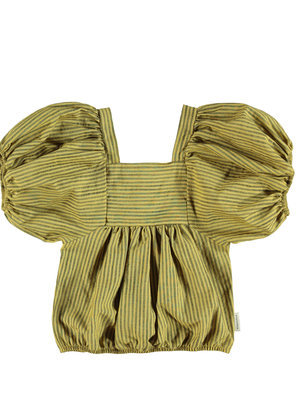 piupiuchick Top ballon sleeves yellow w/ dark grey stripes