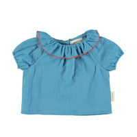 Shirt round fringe collar  deep blue