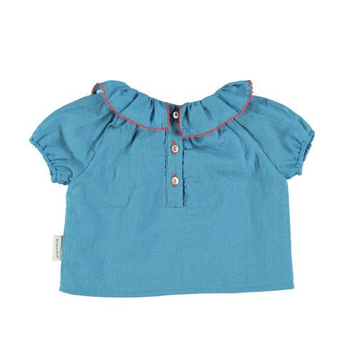 piupiuchick Shirt round fringe collar  deep blue