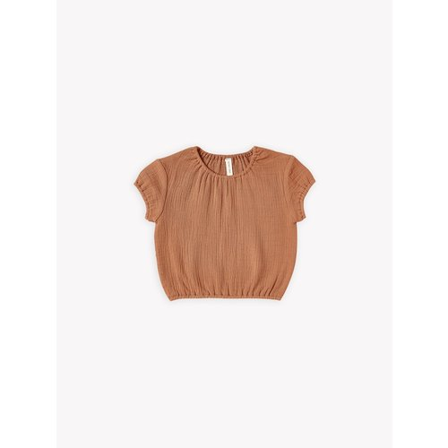Quincy Mae Cinched woven tee rust