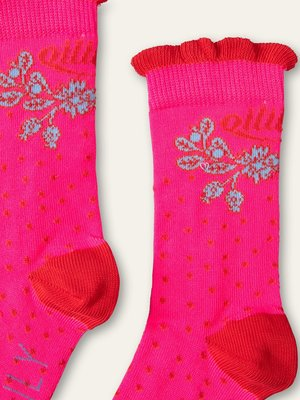 oilily Macarena sokjes soft pink with dots and leaves