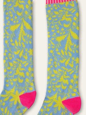 oilily Medusa socks  two-tone blue lime flower dessin