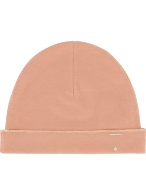 Gray label Baby beanie rustic clay