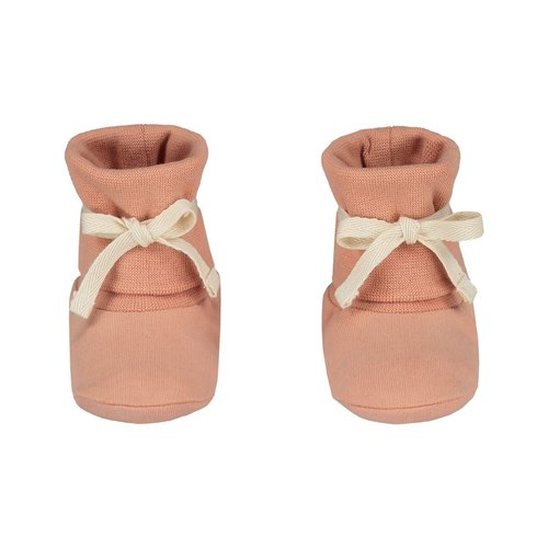 Gray label baby ribbed booties rustic clay