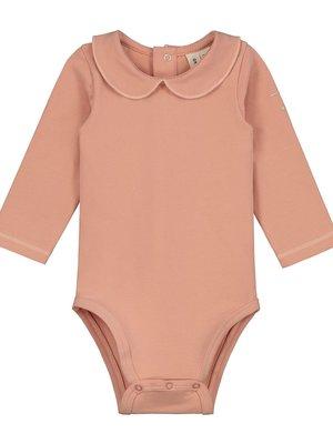 Gray label Baby collar onesie rustic clay