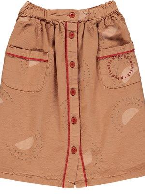 "piupiuchick Long skirt | nut w/ ""festival"" all over"