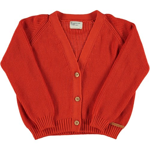 piupiuchick Knitted v-neck jacket   red w/ white back print