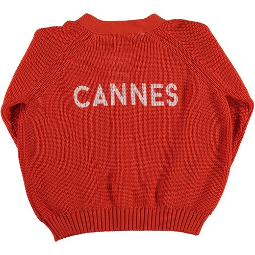 piupiuchick Knitted v-neck jacket | red w/ white back print
