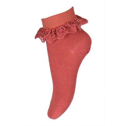 MP Denmark Filippa socks with lace Marsala 4270