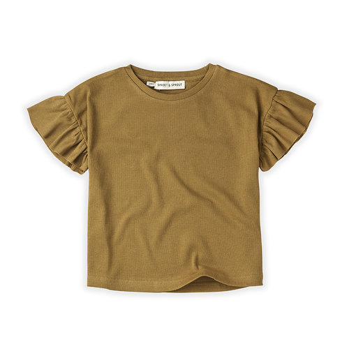 Sproet&Sprout T-Shirt Rib Ruffle Camel S21-716