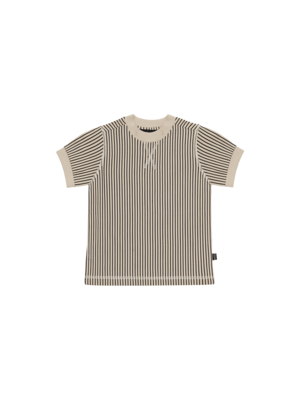 House of Jamie Crewneck tee charcoal sheer stripes