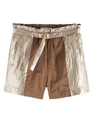 Loose fit metallic gold shorts 161270