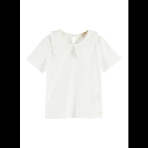 Scotch & Soda 161293 Short sleeve top with woven ruffle collar