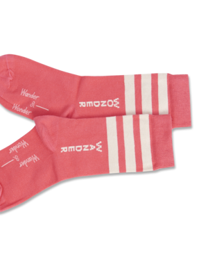 Wander & Wonder Stripe socks coral