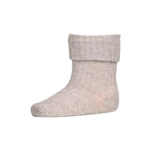 MP Denmark Cotton rib baby socks light brown melange 489