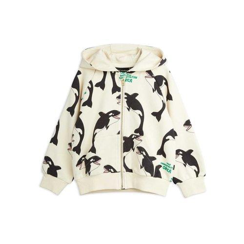 Mini rodini Orca aop zip hoodie