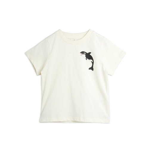 Mini rodini Baby orca ss sp tee OFFWHITE