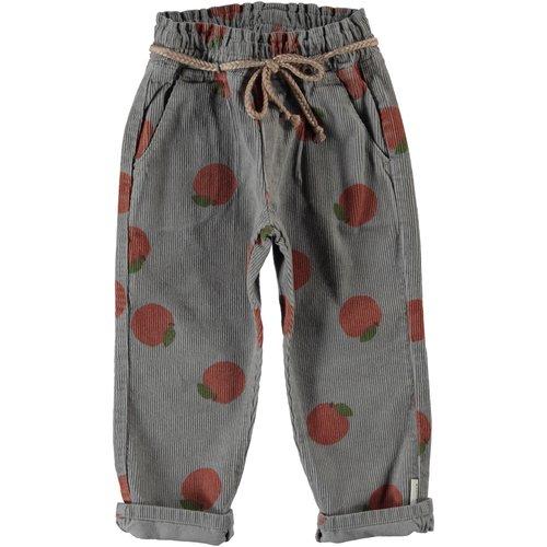 piupiuchick Trousers w/ belt | grey w/ peaches allover