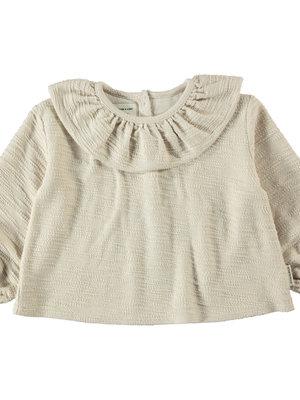 piupiuchick Round collar blouse | ecru textured jersey