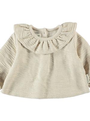 piupiuchick Round collar blouse baby girl | ecru textured jersey