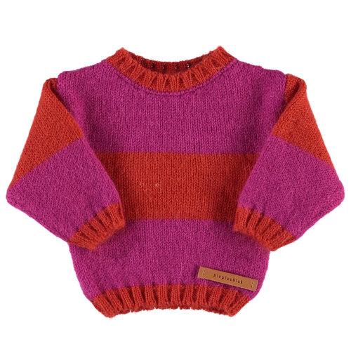 piupiuchick Knitted sweater | ecru & orange stripes