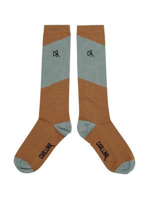 CarlijnQ Knee socks - diagonal brown/blue