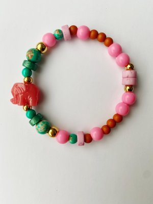 Bymelo Armband Ollie roze/groen