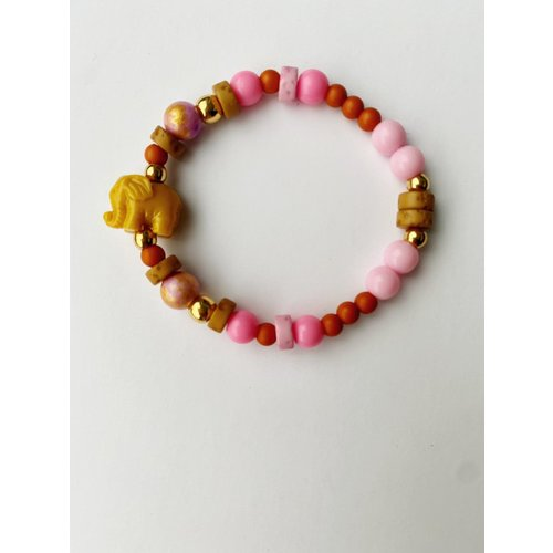 Bymelo Armband Ollie roze/geel
