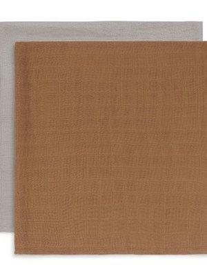 Jollein Multidoek Bamboe large 115x115cm caramel (2pack)
