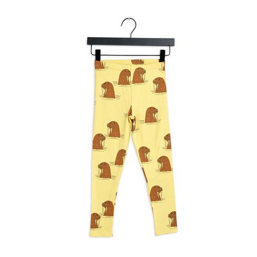 Mini rodini Walrus aop leggings yellow