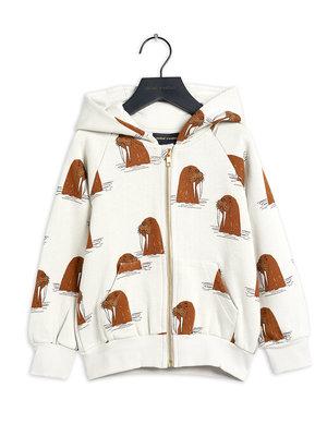 Mini rodini Walrus aop zip hoodie